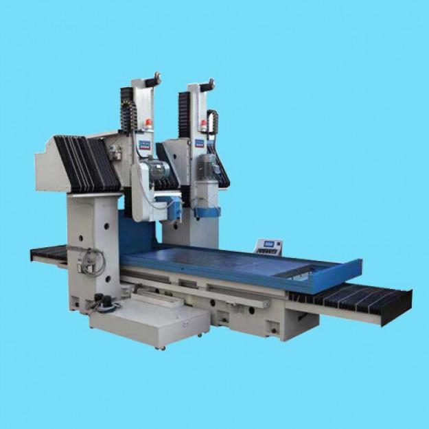 龙门平面磨床主要用砂轮周边磨削加工大型短宽工件的平面。磨削时工件可直接固定在工作台面上或电磁吸盘上。龙门平面磨床采用龙门式布局,由床身、双立柱、横梁组成封闭的刚性框架结构。 床身采用双V型导轨,工作台导轨面覆有耐磨聚四氟乙烯。 拖板沿横梁导轨作横向运动,横向进给由直流电动机驱动。HZ-K1610横向进给由数控进给。 工作台纵向运动由叶片油泵驱动。可无级调速,采用开式液压系统,液压油与导轨润滑有油温控制装置。磨头可沿拖板垂直导轨做上下移动。 垂直进给有快速和自动、手动进给两种方式。HZ-K1610用数控进给